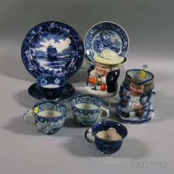 Eight Transfer-decorated Staffordshire Pottery Items and a Toby Jug and Snuff Jar
