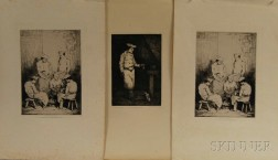 After Théodule Ribot (French, 1823–1891) Three Unframed Prints: Le déjeuner du chat (1867), and two impressions of Les Éplucheurs. All