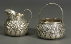 Sterling Repousse Creamer and Sugar Basket