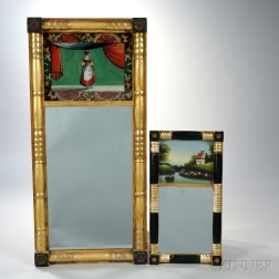 Two Federal Reverse-painted Tabernacle Mirrors