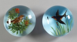Two Rick Ayotte Bird Glass Paperweights