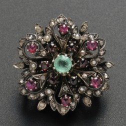 Blackened 14kt Gold, Diamond, Emerald, Ruby, and Seed Pearl Pin