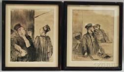 After Honoré Daumier (French, 1808-1879)      Two Plates from Les Gens de Justice