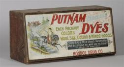 Putnam Dyes/Monroe Drug Co. Chromolithograph Tin and Paper-mounted Wooden   Dovetail-constructed Lift-top Counter Display Cabinet