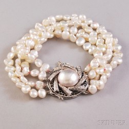 Multi-strand Freshwater Pearl Bracelet with 14kt White Gold, Mabe Pearl, and Diamond   Clasp