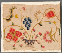 Crewelwork Fragment with an Urn of Fruit and Flowers