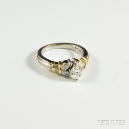 Platinum, 18kt Gold, and Diamond Ring