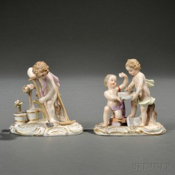 Two Meissen Porcelain Figures of Putti