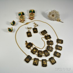 Japanese Shakudo Suite, Coro Owl Brooches and Earclips, and a Trifari Brooch