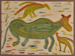 Mose Tolliver (American, 1919-2006)      Japaneel Horse with a French Bird and a Singin' Bird