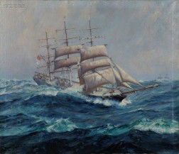 Frank Vining Smith (American, 1879-1967)      Clipper Ship with Shortened Canvas