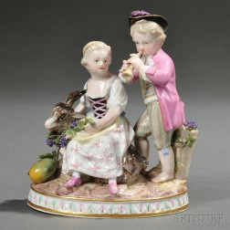 Meissen Porcelain Figure Group with Children and a Goat