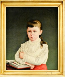Anglo/American School, 19th Century       Portrait of a Girl with Pressed Flowers.