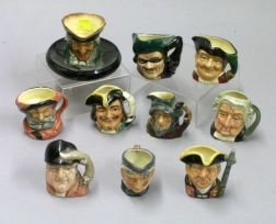 Nine Miniature Royal Doulton Jugs and a Match Stand/Ashtray