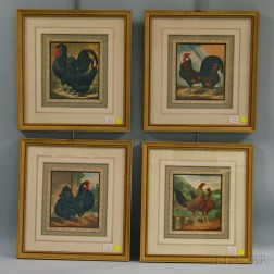 Four Framed Chromolithographs of Prize-winning Chickens