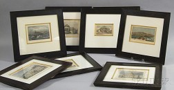 Eight Framed Mostly Hand-colored Engravings of Boston