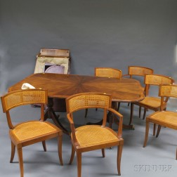 Drexel Mahogany Double-pedestal Dining Table and Six Chairs