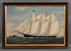 William P. Stubbs (American, 1842-1909)      Portrait of the Three-masted Schooner WILLIAM R. HUSTON   with Distant   Lighthouse.