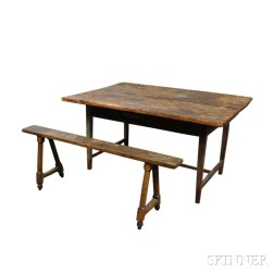 Country Stretcher-base Pine Table and a Bench