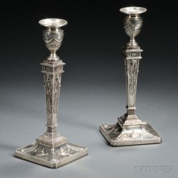 Pair of Edward VII Weighted Sterling Silver Candlesticks