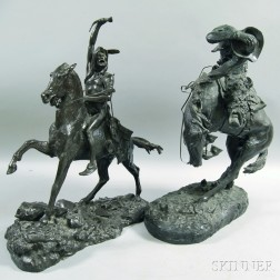 Two Patinated Metal Sculptures After Frederic Remington