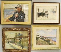 Joseph Margulies (American, 1896-1984)      Four Framed Watercolors:   Provincetown, Mass.