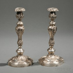 Pair of Imperial Russian .875 Silver Candlesticks