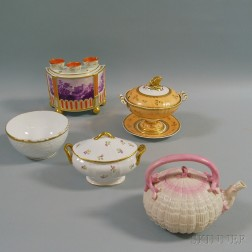 Six Pieces of English Porcelain Tableware