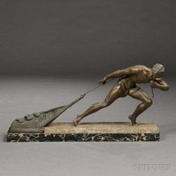 Bronze Figure of a Fisherman with a Net