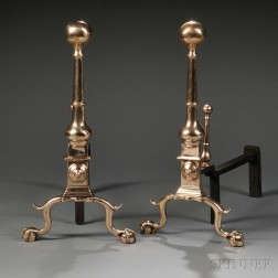Pair of Brass and Iron Andiron Ball-top Andirons