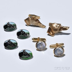 Three Pairs of Sporting-themed Cuff Links