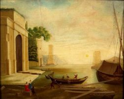 Manner of Claude Joseph Vernet (French, 1712/14-1789)    Figures at a Classical Harbor