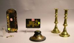 Pair of Brass Push-up Candlesticks, Three Gilt Decorated Lacquered Table Articles, a Sterling-mounted Cut Glass Scent Vial, and a Small