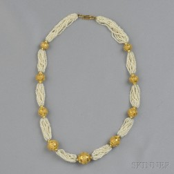 18kt Gold Bead and Seed Pearl Necklace