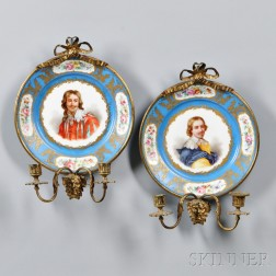 Pair of Sevres-style Porcelain and Gilt-bronze Sconces