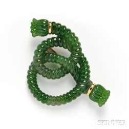 18kt Gold and Carved Nephrite Knot Brooch, Angela Cummings