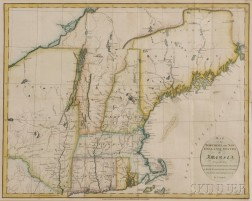 New England. John Russell (c. 1750-1829)   Map of the Northern or New England States of America