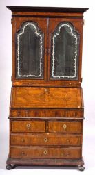 William and Mary/Queen Anne Inlaid Walnut Bureau Bookcase