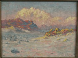 Frank William Chapman (American, 19th/20th Century)      Mountains at Sunset.