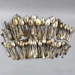 Assorted Group of Mostly Coin and Sterling Silver Flatware
