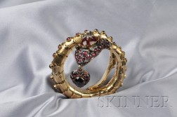 14kt Gold and Garnet Snake Bracelet