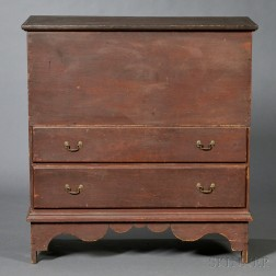 Red-painted Chest over Two Drawers