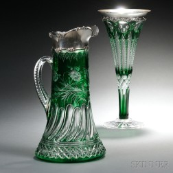 Two Sterling Silver-mounted Green Cut-to-Clear Glass Items