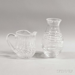 Waterford Crystal Cirrus Vase and a Water Pitcher.     Estimate $200-250