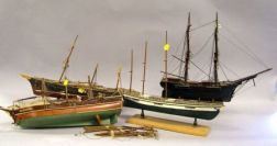 Four Small Painted Wooden Sailing Ship Models