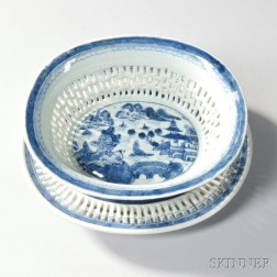 Canton Porcelain Reticulated Fruit Basket and Undertray