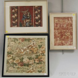 Six Framed Wallpaper and Textile Fragments