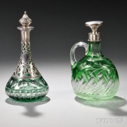 Two Sterling Silver-mounted Green Cut-to-Clear Glass Decanters