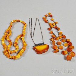 Amber Pendant and Two Necklaces