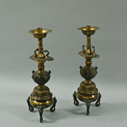 Pair of Asian Bronze Candlesticks